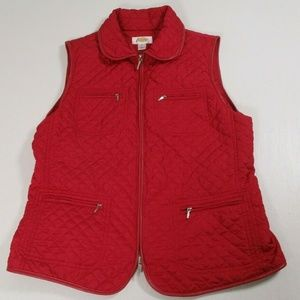 Talbots Womens Sz M Pink Quilted Vest Drawstring
